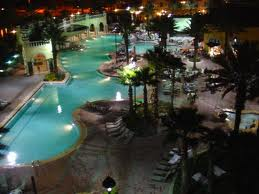 HGVC_on_International_Drive_Pool_Area_at_Night
